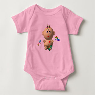 BOUNCING BABY GIRL WITH 4 DRAGONFLIES BABY BODYSUIT
