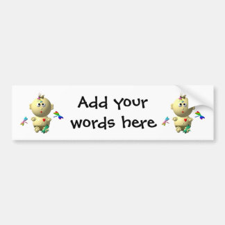 BOUNCING BABY GIRL WITH 4 DRAGONFLIES BUMPER STICKER