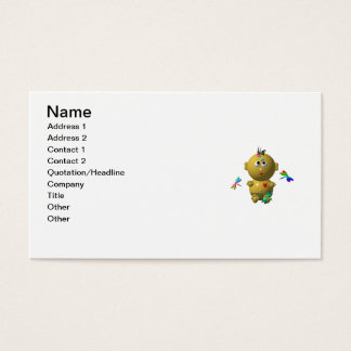 BOUNCING BABY GIRL WITH 4 DRAGONFLIES BUSINESS CARD