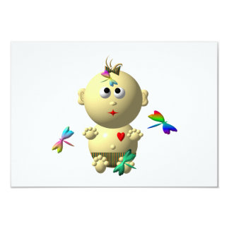 BOUNCING BABY GIRL WITH 4 DRAGONFLIES CARD