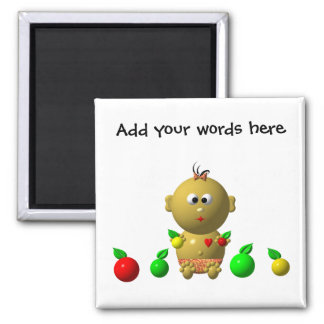 BOUNCING BABY GIRL WITH 6 APPLES 2 INCH SQUARE MAGNET