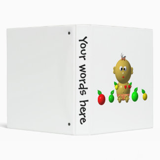 BOUNCING BABY GIRL WITH 6 APPLES 3 RING BINDER