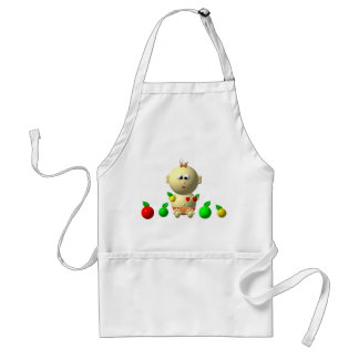 BOUNCING BABY GIRL WITH 6 APPLES ADULT APRON