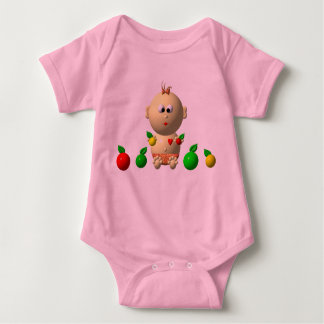 BOUNCING BABY GIRL WITH 6 APPLES BABY BODYSUIT