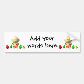 BOUNCING BABY GIRL WITH 6 APPLES CAR BUMPER STICKER