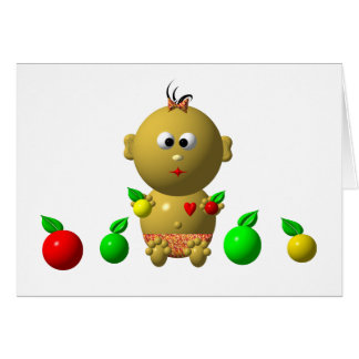 BOUNCING BABY GIRL WITH 6 APPLES CARD