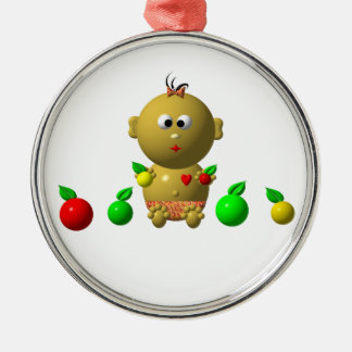 BOUNCING BABY GIRL WITH 6 APPLES METAL ORNAMENT