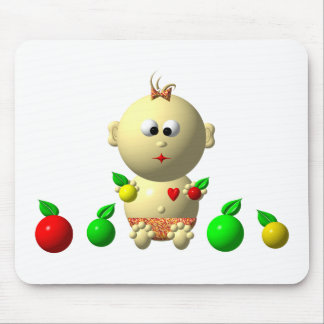 BOUNCING BABY GIRL WITH 6 APPLES MOUSE PAD