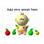 BOUNCING BABY GIRL WITH 6 APPLES POSTCARD