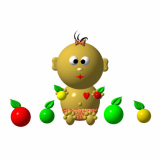 BOUNCING BABY GIRL WITH 6 APPLES STATUETTE