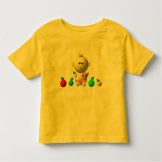 BOUNCING BABY GIRL WITH 6 APPLES TODDLER T-SHIRT