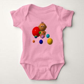 BOUNCING BABY GIRL WITH 8 BALLS BABY BODYSUIT