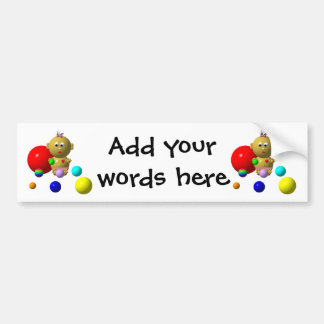 BOUNCING BABY GIRL WITH 8 BALLS BUMPER STICKER