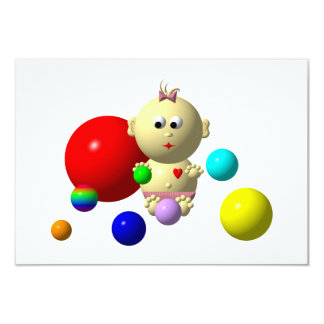 BOUNCING BABY GIRL WITH 8 BALLS CARD