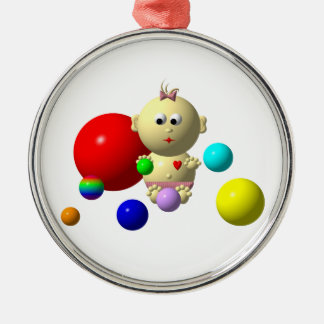 BOUNCING BABY GIRL WITH 8 BALLS METAL ORNAMENT
