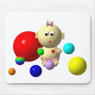 BOUNCING BABY GIRL WITH 8 BALLS MOUSE PAD