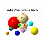 BOUNCING BABY GIRL WITH 8 BALLS POST CARD