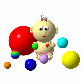 BOUNCING BABY GIRL WITH 8 BALLS STATUETTE