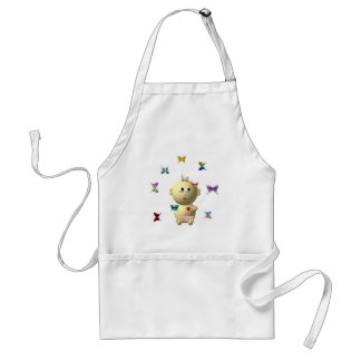 BOUNCING BABY GIRL WITH 9 BUTTERFLIES ADULT APRON