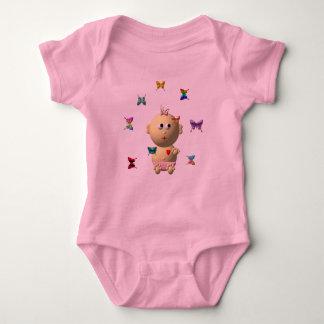 BOUNCING BABY GIRL WITH 9 BUTTERFLIES BABY BODYSUIT