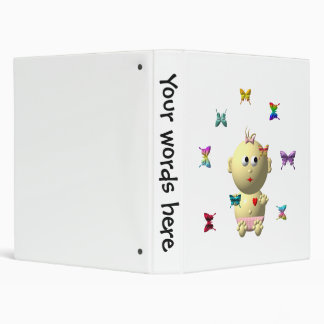 BOUNCING BABY GIRL WITH 9 BUTTERFLIES BINDER