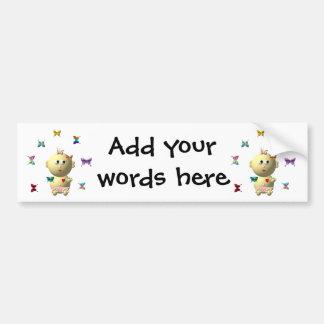 BOUNCING BABY GIRL WITH 9 BUTTERFLIES BUMPER STICKER