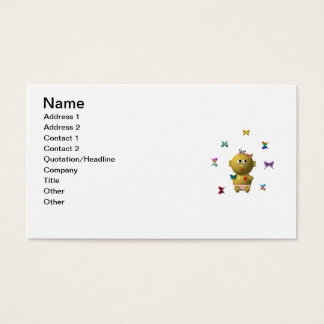 BOUNCING BABY GIRL WITH 9 BUTTERFLIES BUSINESS CARD