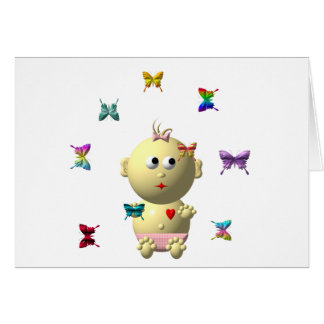 BOUNCING BABY GIRL WITH 9 BUTTERFLIES CARD