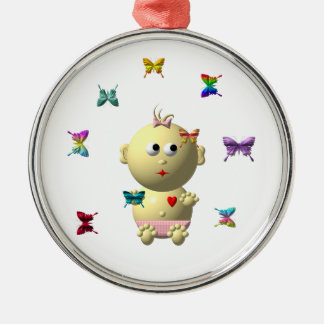 BOUNCING BABY GIRL WITH 9 BUTTERFLIES METAL ORNAMENT