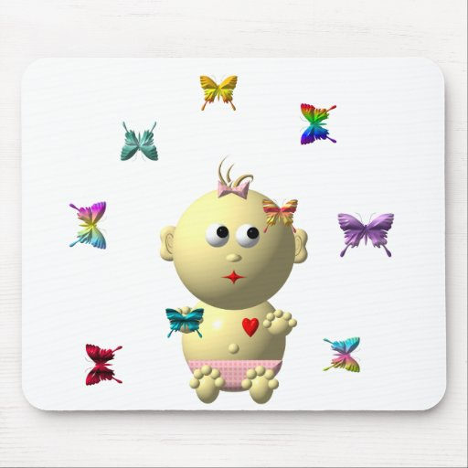 BOUNCING BABY GIRL WITH 9 BUTTERFLIES MOUSE PAD