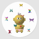 BOUNCING BABY GIRL WITH 9 BUTTERFLIES ROUND STICKER