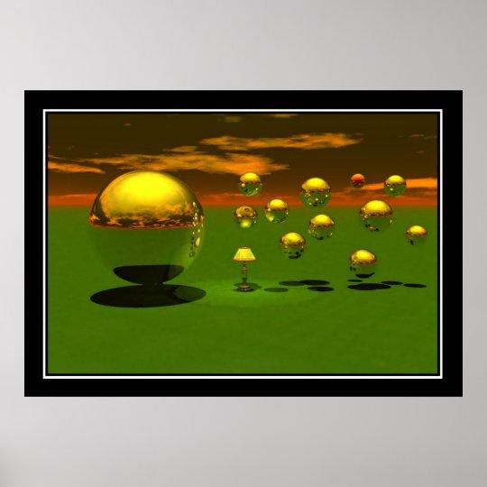 Bouncing Balls Surreal Poster Print