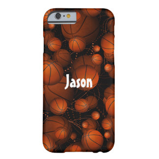 Bouncing Basketballs pattern name orange black Barely There iPhone 6 Case