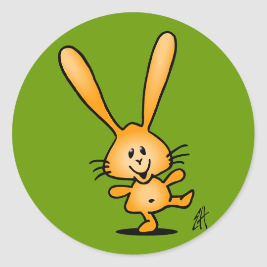 Bouncing Bunny Classic Round Sticker