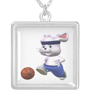 Bouncing Bunny Square Pendant Necklace