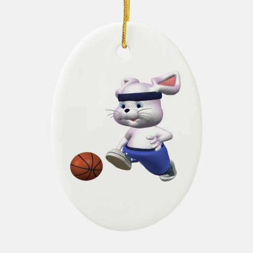 Bouncing Bunny Double-Sided Oval Ceramic Christmas Ornament