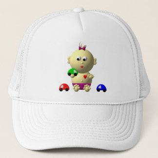 BOUNCING GIRL WITH 3 TOY CARS TRUCKER HAT