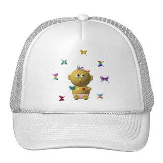 BOUNCING GIRL WITH 9 BUTTERFLIES TRUCKER HAT