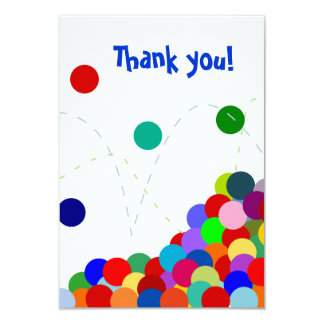 Bouncing Party Thank You Note Flat 3.5x5 Paper Invitation Card