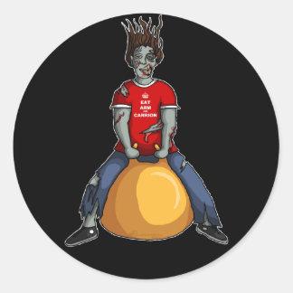 Bouncing Zombie 1, stickers Round Sticker