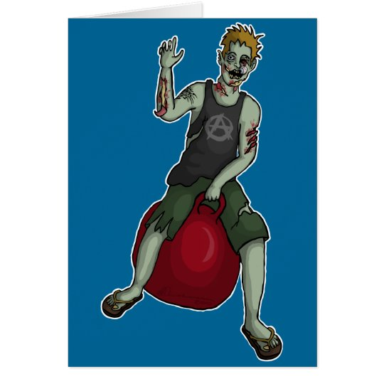 Bouncing Zombie 3, greeting card
