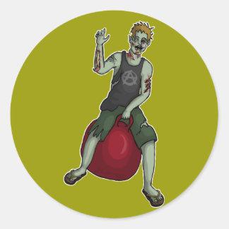 Bouncing Zombie 3, stickers Round Sticker