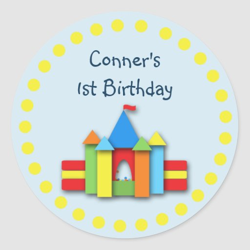Bouncy Bithday Invitation Seal or Address Label Classic Round Sticker