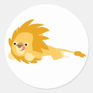 Bouncy Cartoon Lion Round Sticker