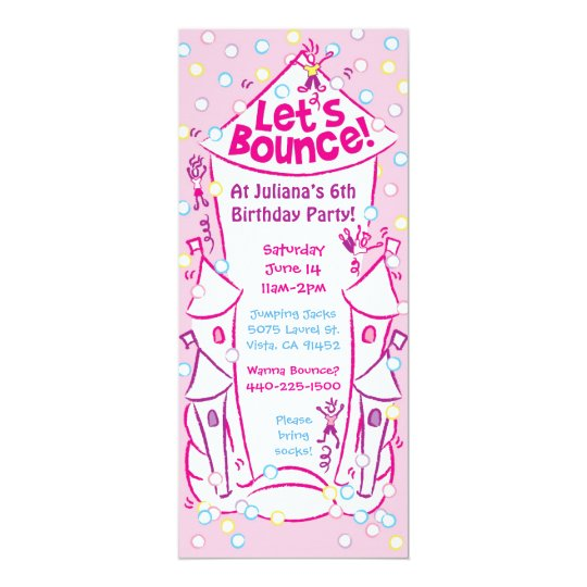 Bouncy Castle Invitations: Pink Card