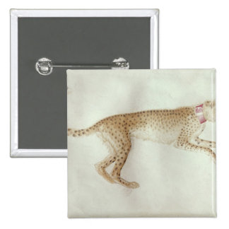 Bounding cheetah with a red collar pinback button