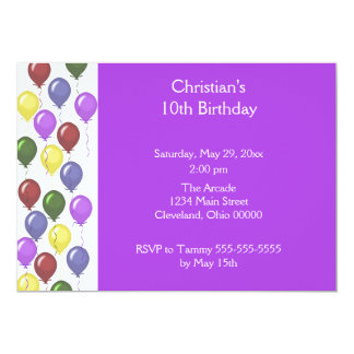 Bountiful Balloons Invitation (Purple)
