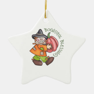 BOUNTIFUL BLESSINGS Double-Sided STAR CERAMIC CHRISTMAS ORNAMENT