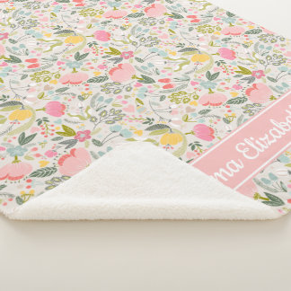 Bountiful Blooms Personalized Baby Sherpa Blanket