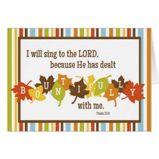 BOUNTIFUL Folded Scripture Thanksgiving Card-BLANK Card